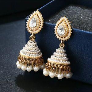 Indian Desi Pearl Chandelier Earrings